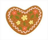 Gingerbread aşk kalp dekore edilmiş — Stok Vektör