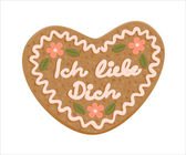Decorated gingerbread love heart with declaration of love in Ger — Stock Vector