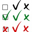 Check mark, tick and cross. Vector illustration — 图库矢量图片
