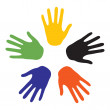 Hand signs with the colors of the five continents. Vector-Illust - Stock Vector