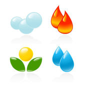 Four elements. Fire, water, air, ground. Vector-Illustration — Stock Vector
