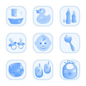 Baby-Icons in blue. Vector-Illustration — Stock Vector