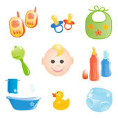 Baby icons set. Vector-Illustration — Stock Vector