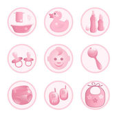 Baby-Icons in pink. Vector-Illustration — Stock Vector