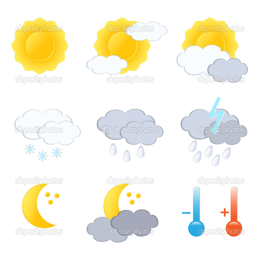 Weather forecast icon set. Vector-Illustration.  Stock Vector #11958923