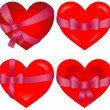 St. Valentine Hearts bonded with pink ribbon icons — Vector de stock #11962948