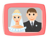 Wedding photo in frame. Vector-Illustration — Stock Vector