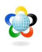 глобус с цветами из пяти континентов. вектор illustratio — Cтоковый вектор