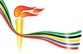 Olympic torch with the colors of the five continents. Vector-Ill — Stock Vector