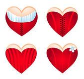 Kalp, simge seti korseli. vektör çizim — Stok Vektör