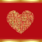 Patch-Heart in gold, the Valentine's card. Vector-Illustration — Stock Vector