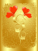 The Valentine's card in gold. Vector-Illustration — Stock Vector