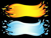 Banner of two elements: burning flame and sea wave. Vector-Illus — Stock Vector
