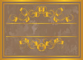 Vintage frame in gold. Symmetric inward. Vector IllustrationVint — Stock Vector