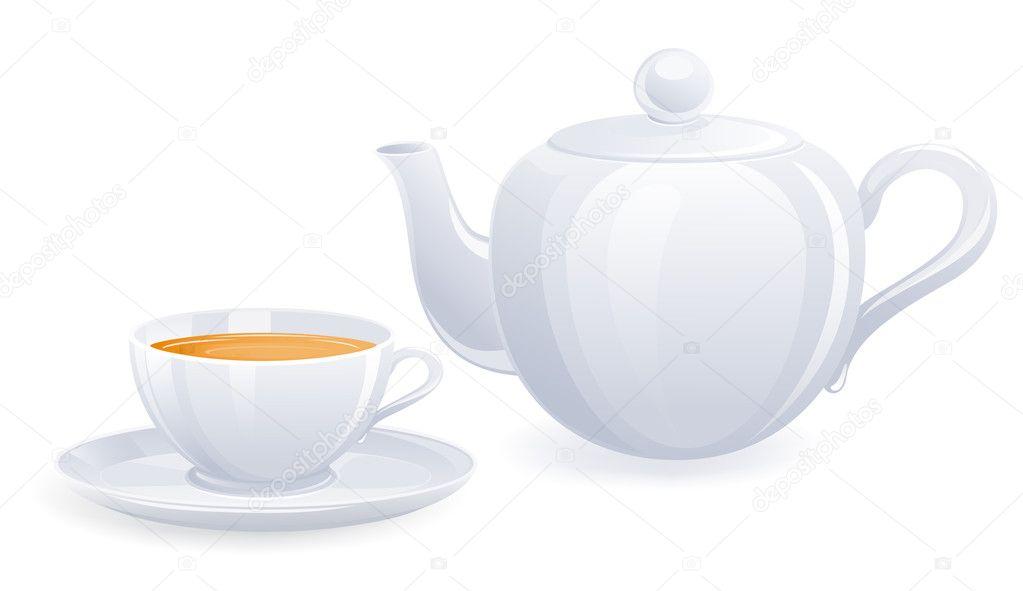 白色的茶杯和茶壶.矢量插画