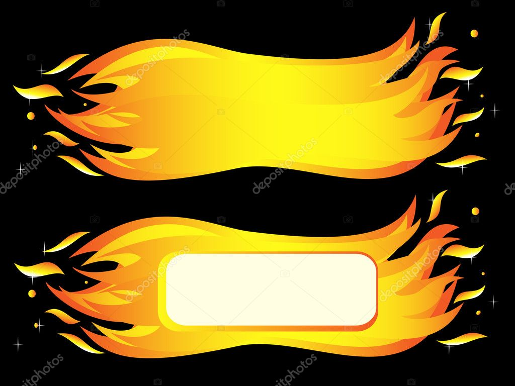 Banner of burning fire flame. Vector-Illustration — Stock Vector #11963174