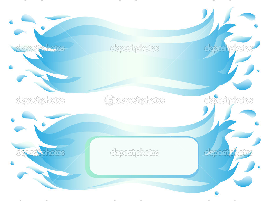 Banner of water wave with splash. Vector-Illustration — Stock Vector #11963178