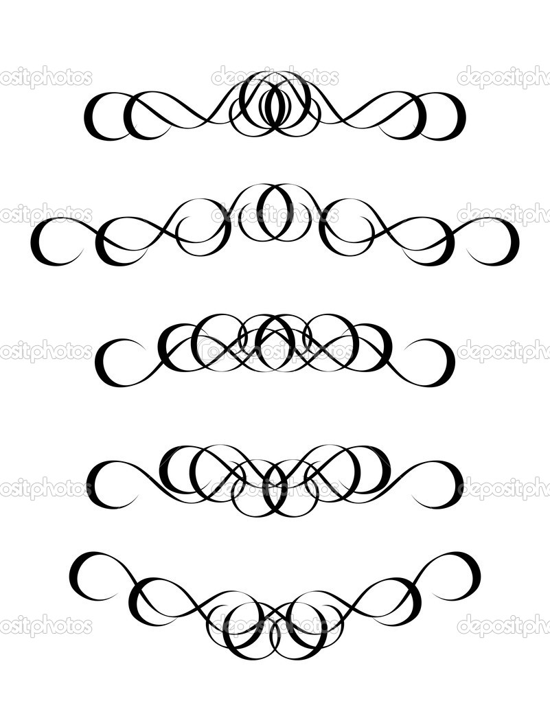 5 versions of abstract ornament in vintage style, symmetric inward, isolated. Vector-Illustration. — Stock Vector #11964102