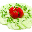 Salad with tomatoe — Stock Photo