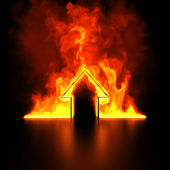Burning house shape metaphor — Stockfoto