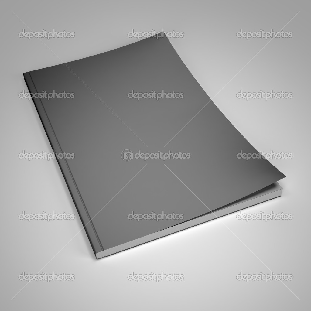 Magazine with blank cover on gray background 3d render  Stock Photo #11817365