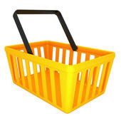 Empty yellow shopping basket — Stock fotografie