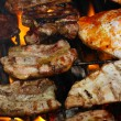 Stock Photo: Steak meat on BBQ