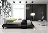 Minimalist bedroom interior — Stock Photo