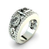 Wedding silver diamond ring isolated on white background — Photo