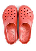 Red Plastic Clogs Isolated on White — Stock Photo