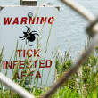 Tick Infested Area Warning Sign — Stock Photo