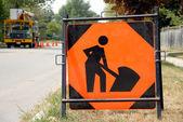 Men at Work Sign — Stock Photo