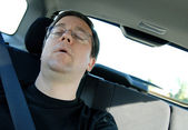 Sleeping in the Car — Stock Photo