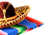 Mexican Sombrero and Color Rug — Stock Photo