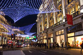 London's Regent Street decorated with Christmas lights — Stock Photo