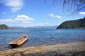 Lake wooden boat — Stock Photo
