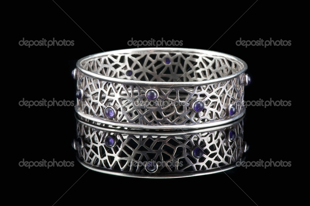 Silver bracelet in the black background  Stock Photo #12141889