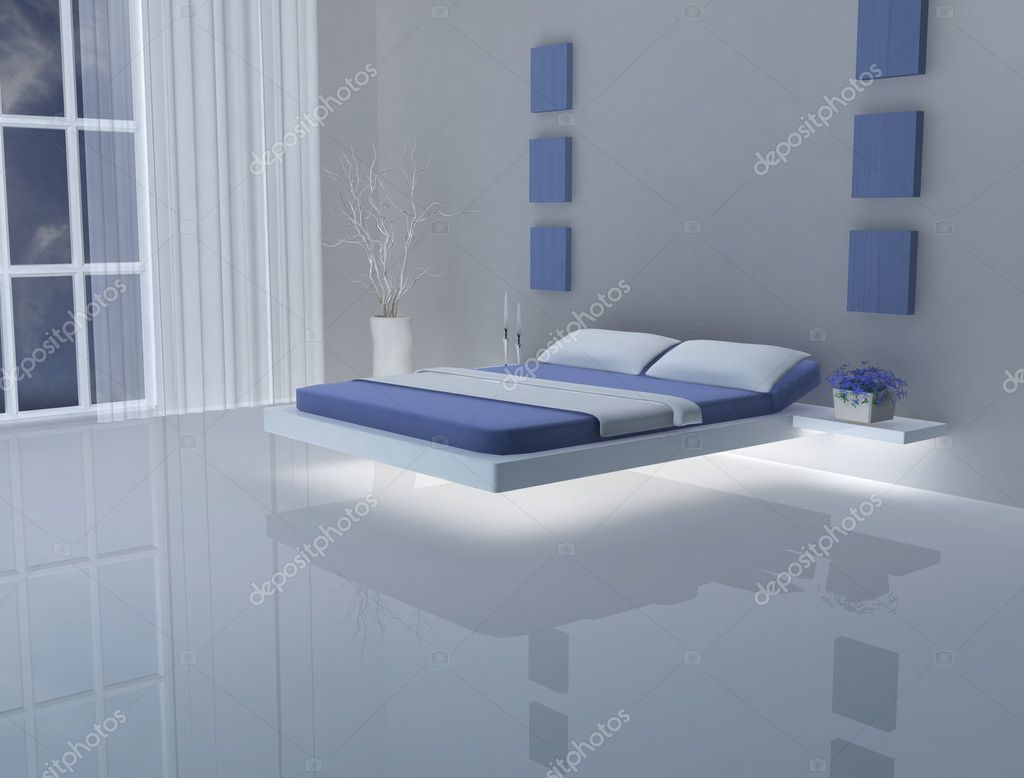 chambre bleue et blanche photographie liatris 11828828. Black Bedroom Furniture Sets. Home Design Ideas