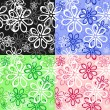 Set of floral seamless backgrounds — Stock Vector