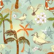 Abstract sea background, beach theme fashion seamless pattern, beautiful exotic vector wallpaper, vintage fabric, colorful wrapping with seagull and palm ornaments - summer, maritime theme for design — Stock Vector