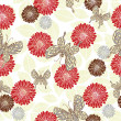 Retro style vector seamless pattern, fabric, wallpaper, wrapping and background with flower, leaf and butterfly ornaments - summer and spring theme for decoration and design — ストックベクタ