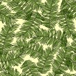 Vecteur: Retro style vector seamless pattern, fabric, wallpaper, wrapping and background with branches of palm trees ornament - summer and spring theme for decoration and design