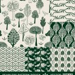 Retro style monochrome vector seamless pattern, fabric, wallpaper, wrapping and background set with bird, tree, leaf, flower and geometric ornaments - summer and spring theme for decoration and design — Vector de stock