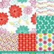 Retro style vector seamless pattern, fabric, wallpaper, wrapping and background set with flower and geometric ornaments - summer and spring theme for decoration and design — Stock Vector