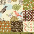 Abstract birds backgrounds set, graphic flowers vector wallpapers, seamless patterns, fabrics and wrappings with geometric ornaments; summer, spring and autumn theme decoration and design — Stock Vector