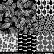 Abstract backgrounds set, monochrome vector wallpapers, black and white seamless patterns, fabrics and wrappings with graphic flowers, leafs, and geometric damask ornaments -summer, spring and autumn — Stock Vector #11957252