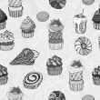 Abstract background, cakes seamless pattern, vintage vector wallpaper, retro fabric and black and white wrapping with graphic sweet cakes and flower for decoration and design — Stock Vector