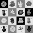 Abstract background, tea time vector wallpaper, monochrome seamless pattern, black and white fabric and wrapping with graphic tea, cup, flower, teapot, lemon and leaf ornaments for design — Stock Vector #11958807