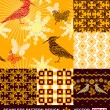 Abstract backgrounds set, seamless fashion patterns, vector wallpapers, graphic flowers, bird, sun, butterfly; fabrics, wrappings with geometric ornaments; summer, spring and autumn theme for design — Stock Vector