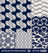 Retro style monochrome vector seamless fabric, pattern, wallpaper, wrapping and background set with vintage clouds, birds, flowers and geometric ornaments for decoration and design — Stock Vector